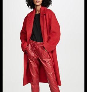 Maxi wool vintage red coat s 10 100% wool
